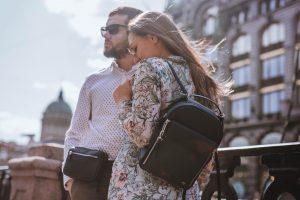 женский кожаный рюкзак Dolphin и поясная сумка