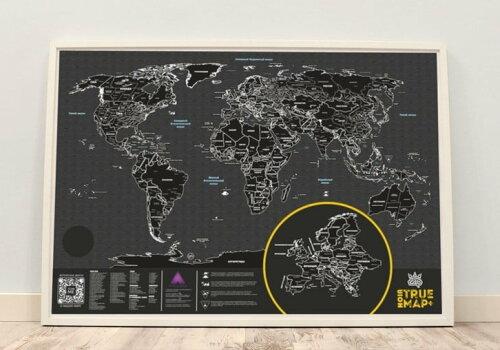 черная стираемая карта мира