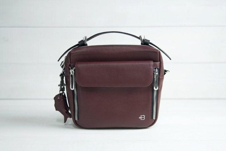 бордовая женская сумка через плечо Shell Bordo