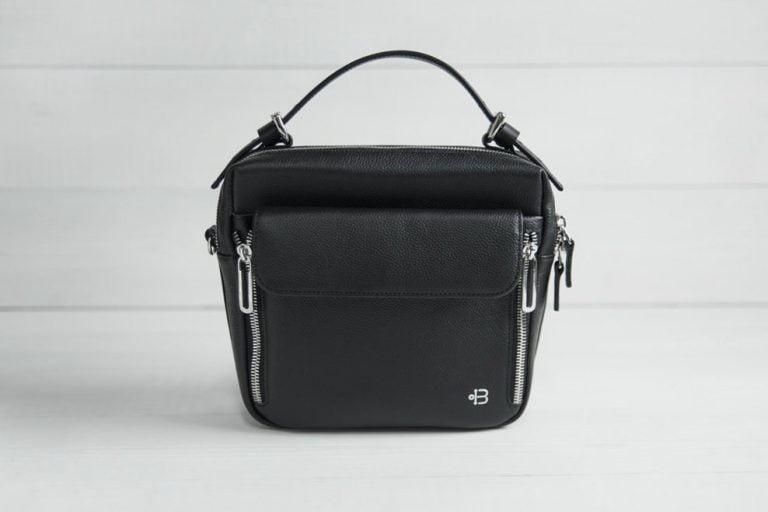 черная женская кожаная сумка через плечо Shell Black