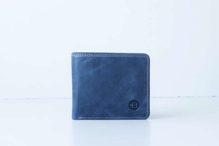 маленький синий кошелек из кожи Wave Blue