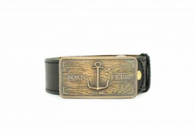 мужской кожаный ремень для джинсов и брюк с золотистой пряжкой Born To Be Free Gold бренд Верфь