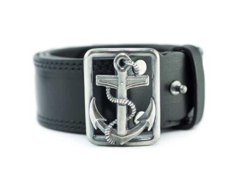 офицерский ремень кожаный морской с серебристой пряжкой