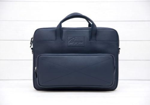 синяя кожаная сумка для ноутбука Rock Blue