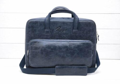 синяя кожаная деловая сумка Континент Continent