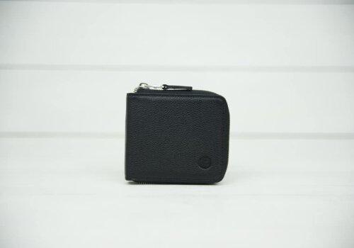 Мужской черный кожаный кошелек на молнии Zipper