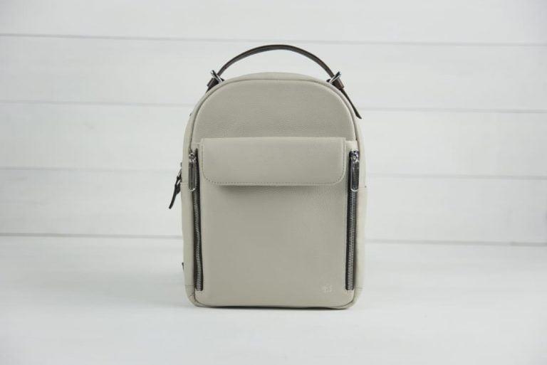 бежевый маленький кожаный рюкзак Dolphin