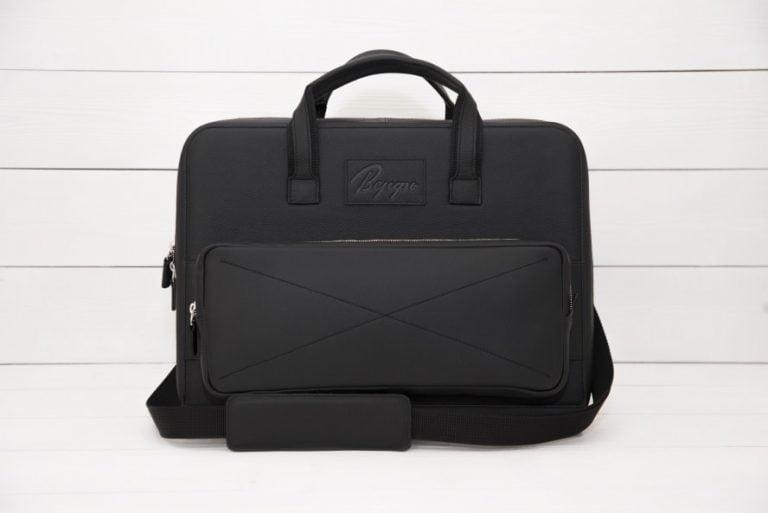 черная кожаная деловая сумка Континент Continent