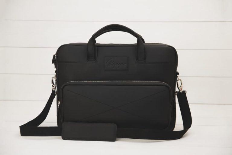 черная кожаная сумка для ноутбука Rock Black