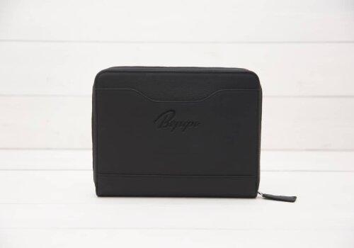черная кожаная папка для документов в путешествие Travel Pack Black