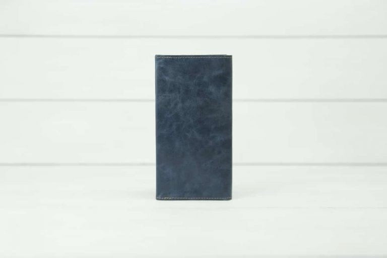 синий кожаный купюрник Mayak Blue