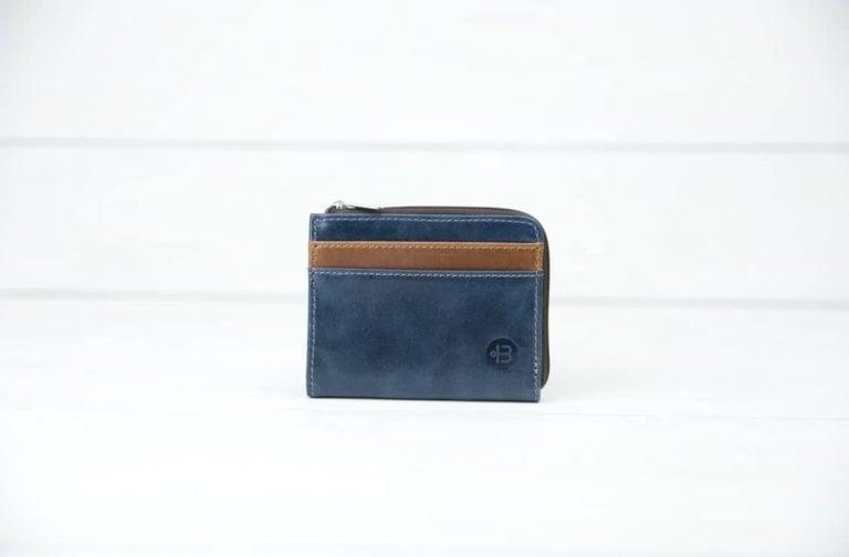 синий кожаный кошелек на молнии Duck Blue