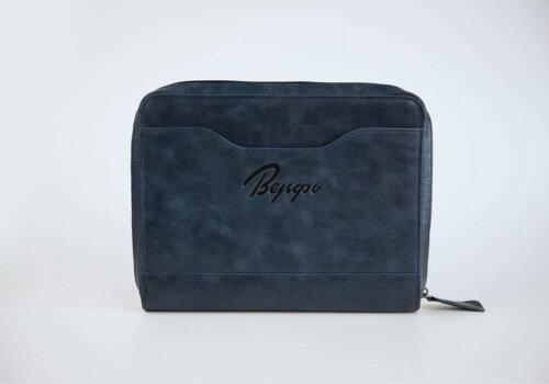 синий кожаный органайзер для авиабилетов и дорожных документов Travel Pack Blue