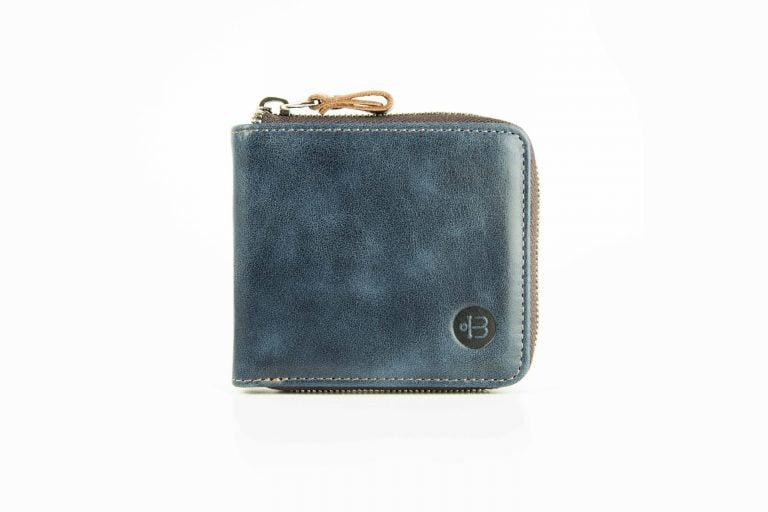 мужской синий кожаный кошелек на молнии Zipper Blue
