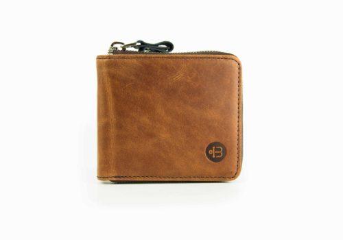 мужской кожаный кошелек на молнии коричневого цвета Zipper Brown
