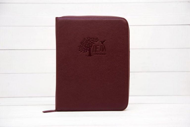 dela semejnye бордовая кожаная папка для хранения домашних документов