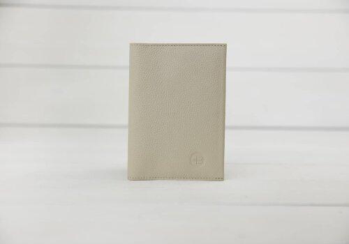 бежевый футляр для паспорта и денег из натуральной фактурной кожи