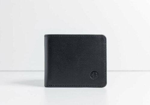 маленький черный кошелек из кожи Wave Black