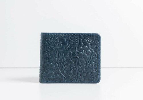 маленький синий кошелек с дизайнерским тиснением Wave Yeka Blue