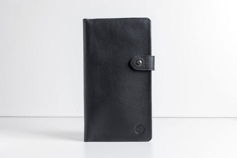 большой черный кожаный кошелек Slap Black