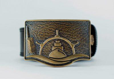 Seabelt Gold кожаный ремень с бляхой