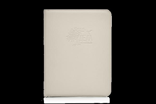 бежевая кожаная папка для семейных документов