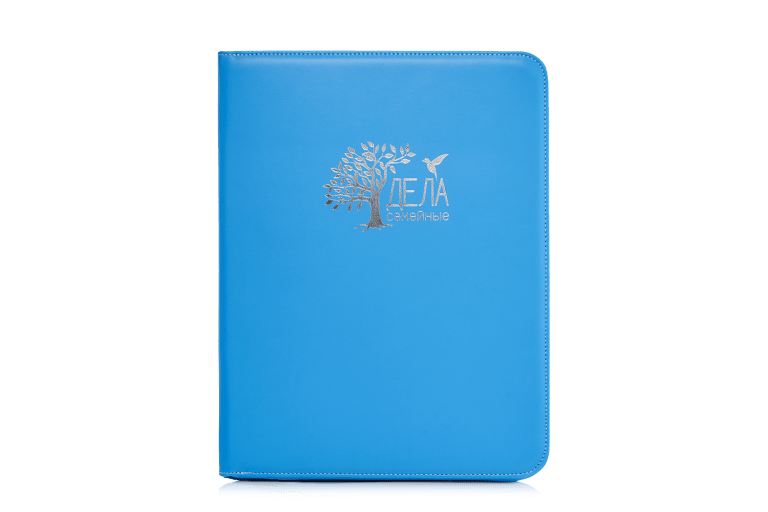 голубая папка для домашних бумаг искусственная кожа