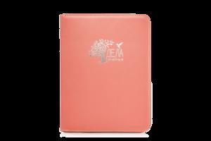 персиковая папка для домашних документов искусственная кожа