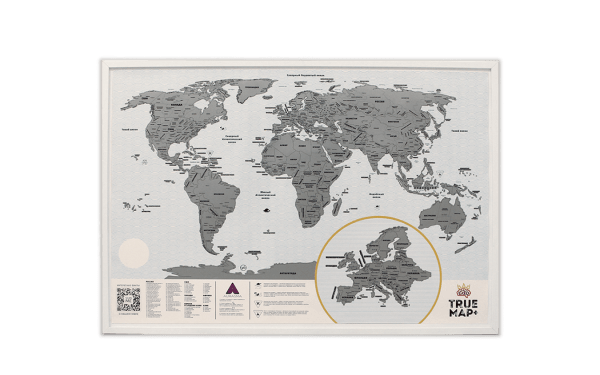 Скретч карта мира True Map Plus White