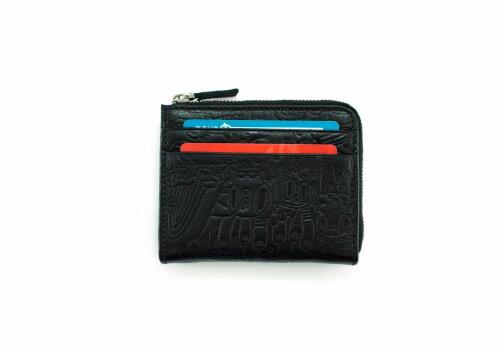черный кожаный кошелек с дизайнерским тиснением Duck Yeka Black