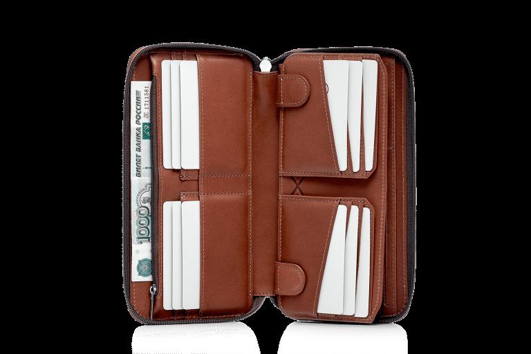 Кошельки Аксессуары для путешествий Кожаное мужское портмоне Портмоне Дорожные кошельки Tandem Brown