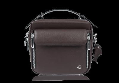 женская сумка кросс боди шоколадного цвета натуральная кожа